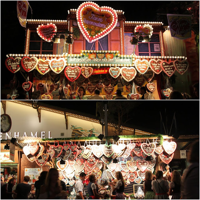 Gingerbread Hearts with messages as souvenirs to the loved ones at Octoberfest in Munich, Germany