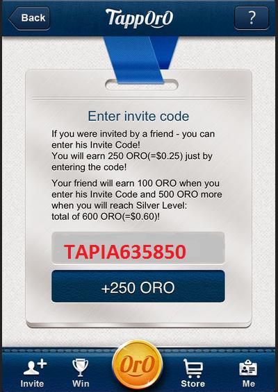 """Enter invite Code """"TAPIA635850"""""""