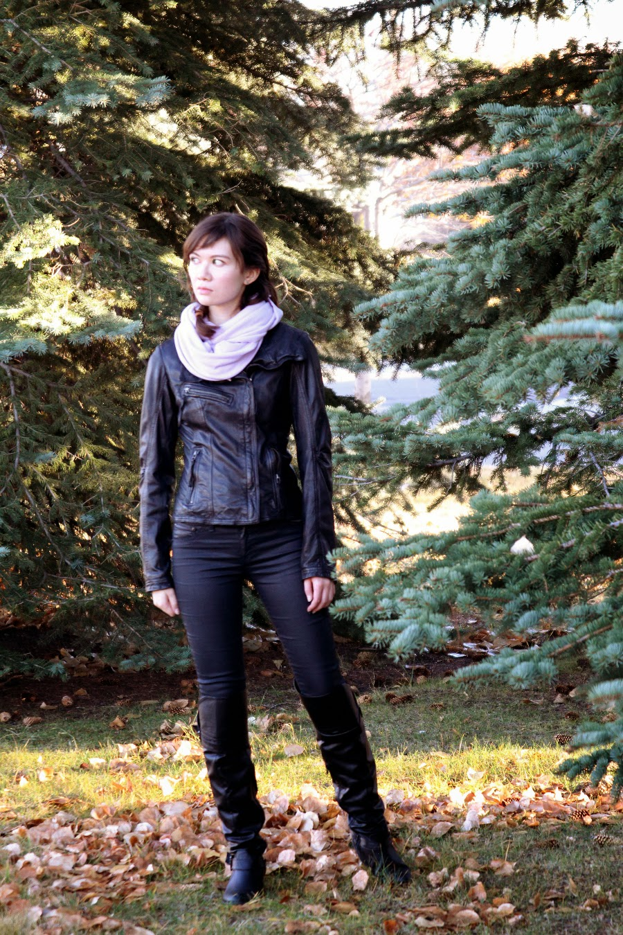 Katnis Everdeen Inspired Costume, Hunger Games, halloween, Danier, leather jacket, american apparel, Rag & Bone, circle scarf