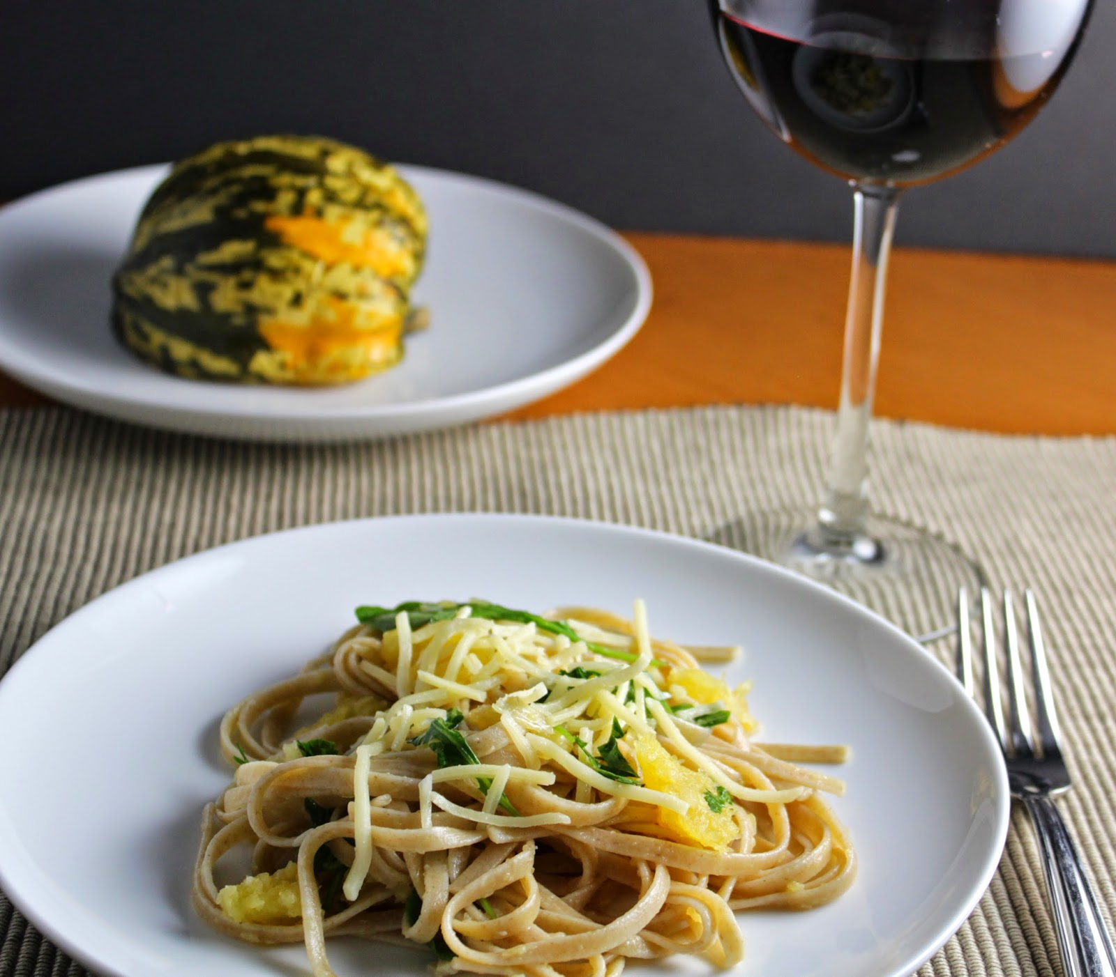 Linguine with Roasted Carnival Squash and a Garnacha. Cooking Chat pairing for #winePW 5.