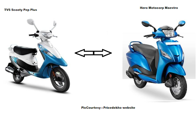 Comparison between TVS Scooty Pep and Hero Motocorp Maestro
