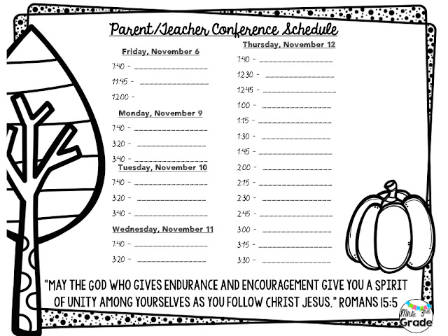 A fun way to display your parent teacher conferences to keep you and others on schedule