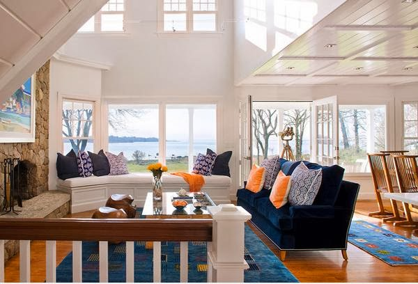 Living Room Design With Color Combination Blue Orange And Chocolate