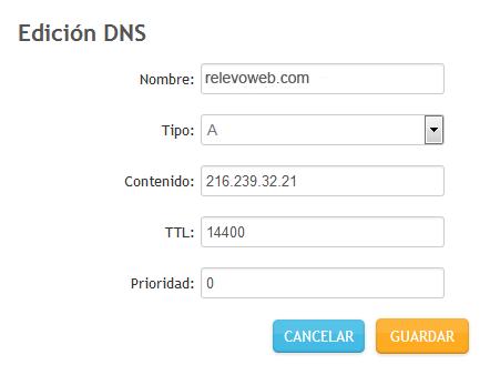 edición añadiendo datos a host e ip