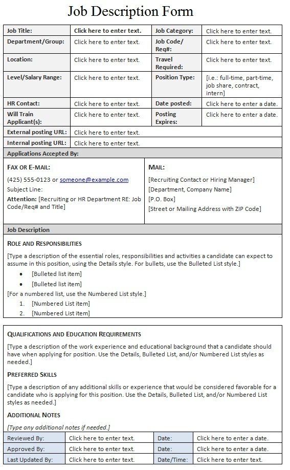 Job description form template sample for Samples of job descriptions templates
