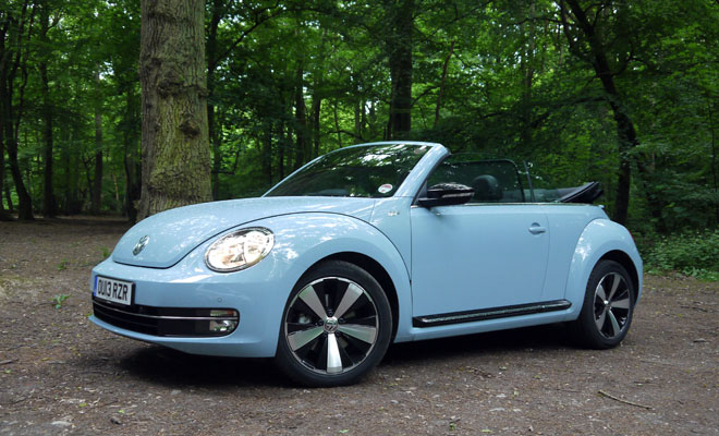 2013 VW Beetle Cabriolet front view, hood open