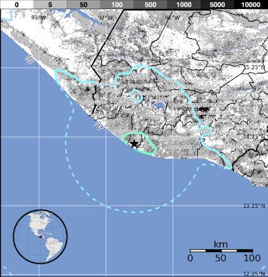 Epicentro sismo 5,5 grados en Gautemala, el 06 de Agosto 2013