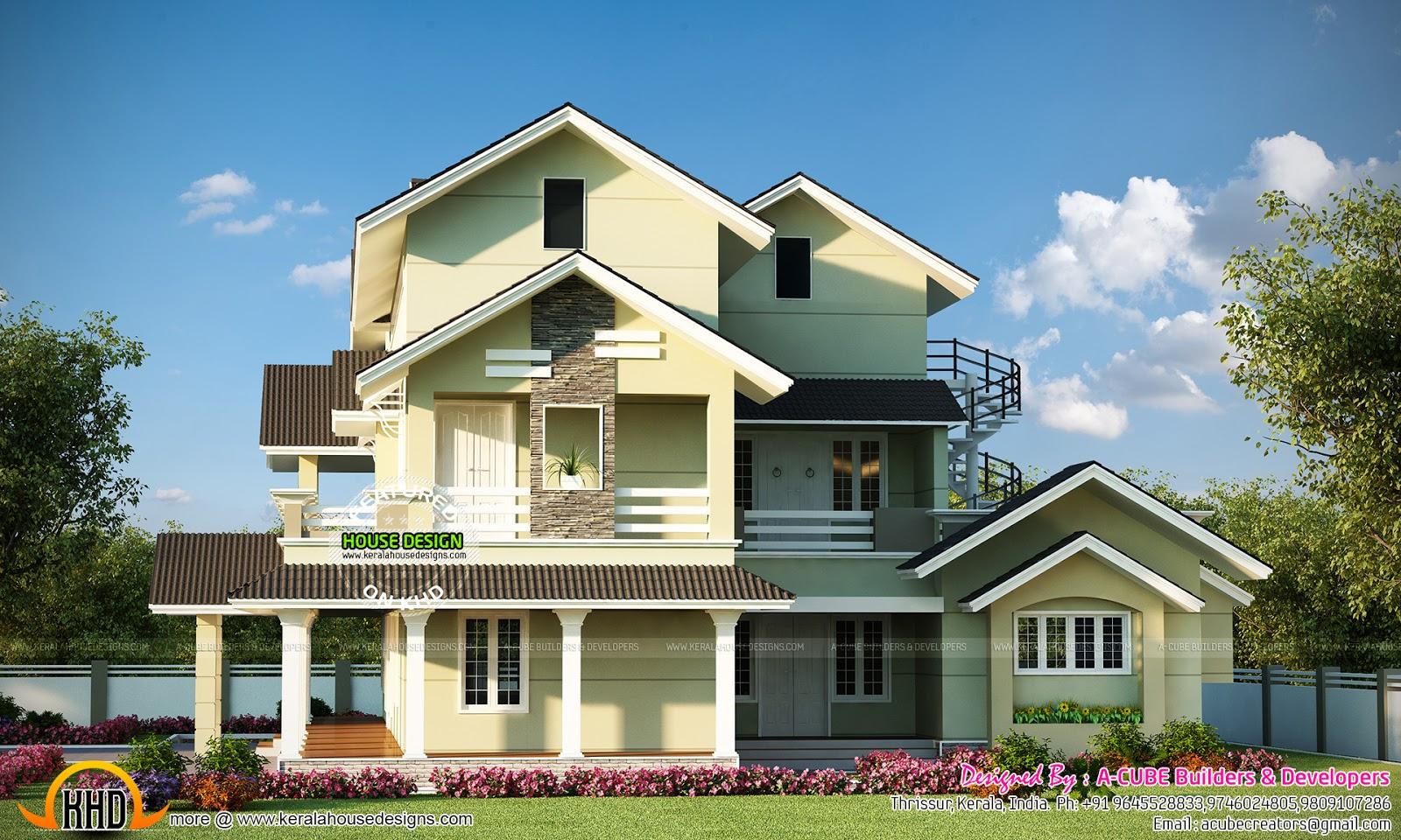 Cute 3 storied kerala home kerala home design and floor for Kerala home photos