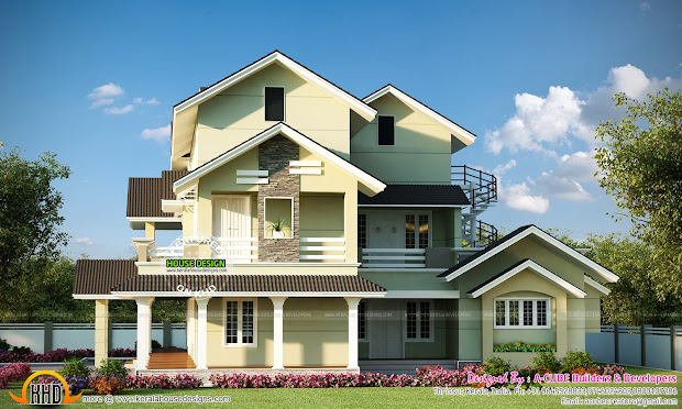 Cute 3 Storied Kerala Home - Design And Floor