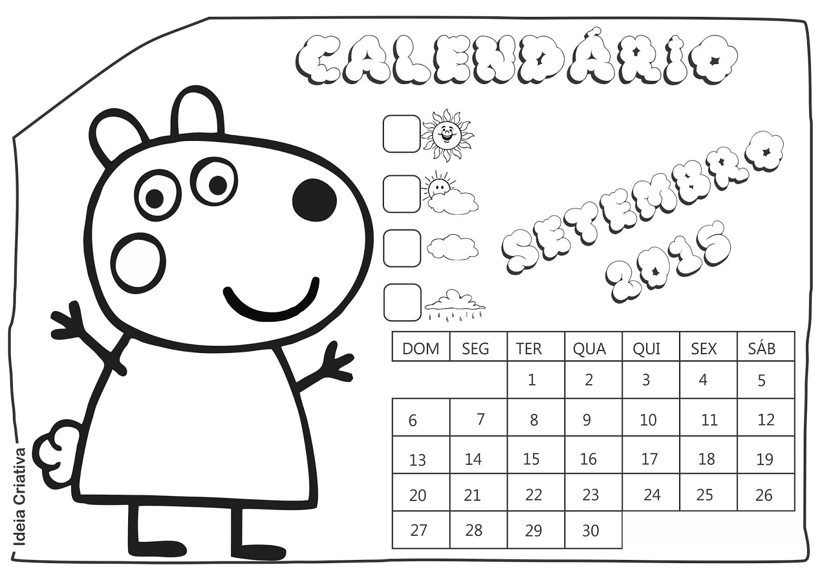 Calendário Setembro 2015 Peppa Pig e Seus Amigos para Imprimir Grátis