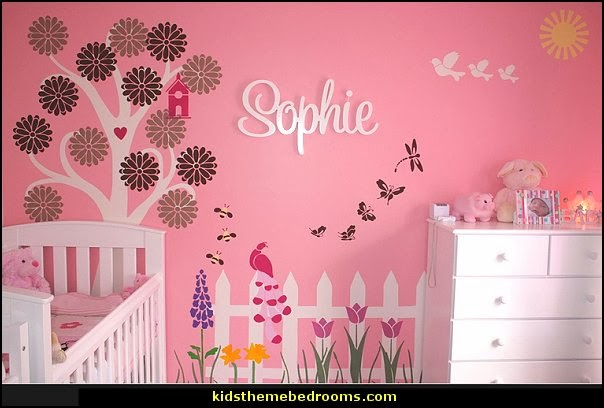 baby girl garden nursery theme decorating ideas - flower garden theme baby bedrooms - butterfly bedroom & Decorating theme bedrooms - Maries Manor: baby girl garden nursery ...