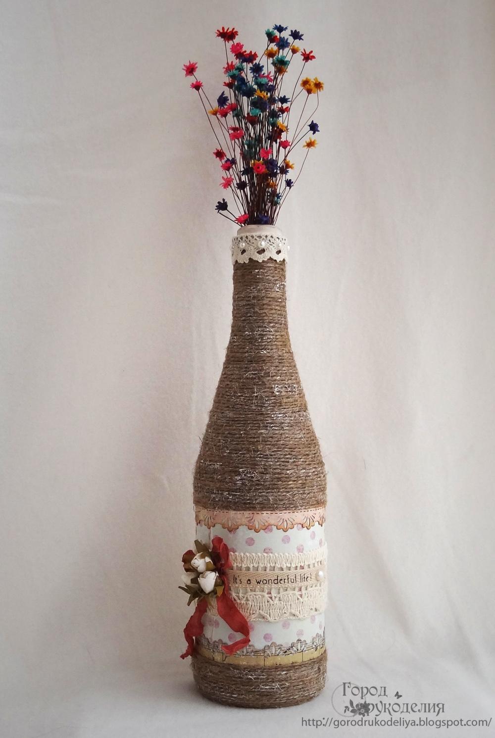 Вазочка из пластиковой бутылки и шпагата