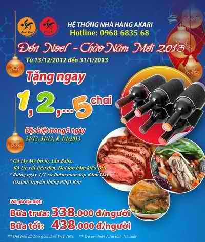 Nhà hàng Ngọc Mai và Akari ưu đãi mừng năm mới, chương trình khuyến mãi