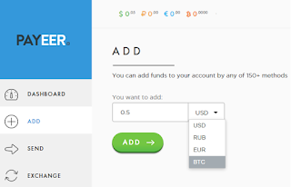 Adding funds in different currencies, to Payeer electronic wallet
