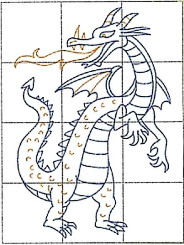 Showing you how to draw a cartoon dragon image to color in monster ...