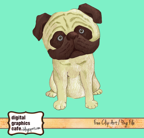Free scrapbook dog clipart from Digital Graphics Cafe