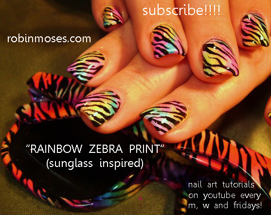 Another Zebra Stripe Rainbow Nail Art Design With Matching