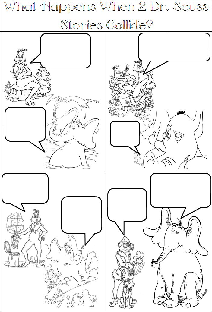 comic strip coloring pages adventures in tutoring and special education dr seuss