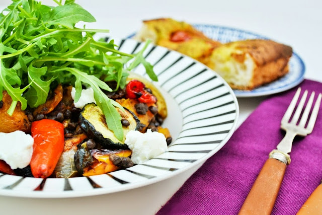 Roast Vegetable, Puy Lentil and Arugula Salad