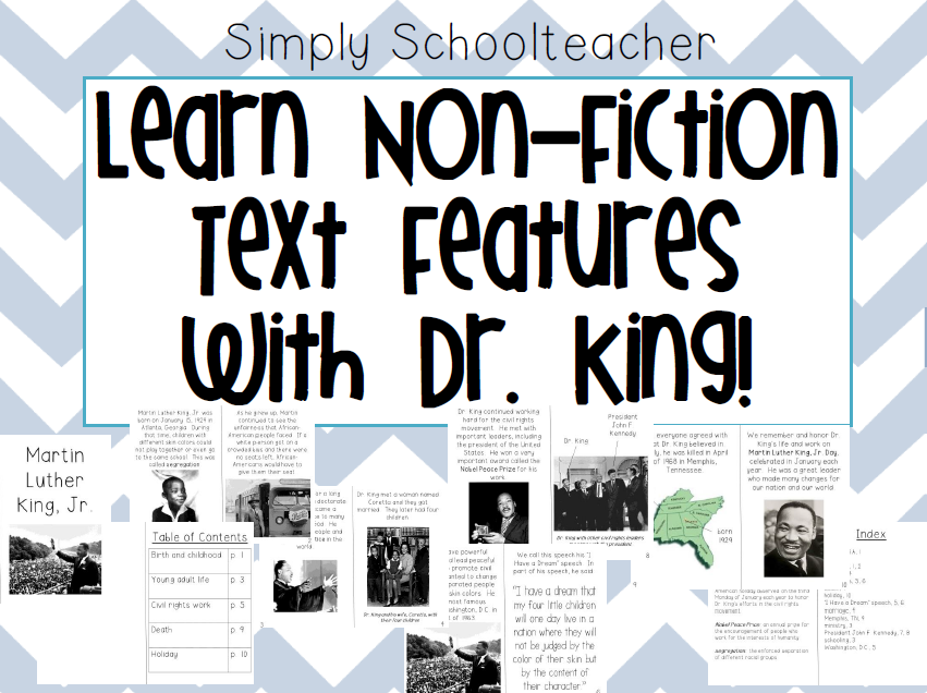 http://www.teacherspayteachers.com/Product/Non-Fiction-Text-Features-MLK-freebie-1048412