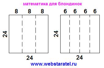 Квадрат и призма. Разрезание боковой поверхности призмы в виде квадрата на три и четыре равных части. Математика для блондинок.
