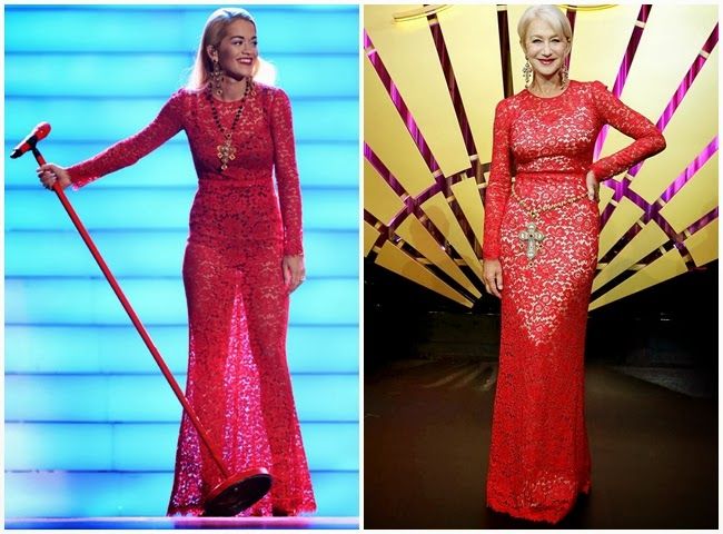 撞衫: Red lace  Dolce & Gabbana dress 2013 AW- Rita Ora, Helen Mirren