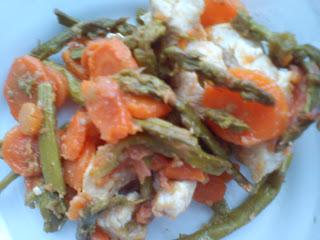 Pechuga de pavo con zanahoria y espárragos