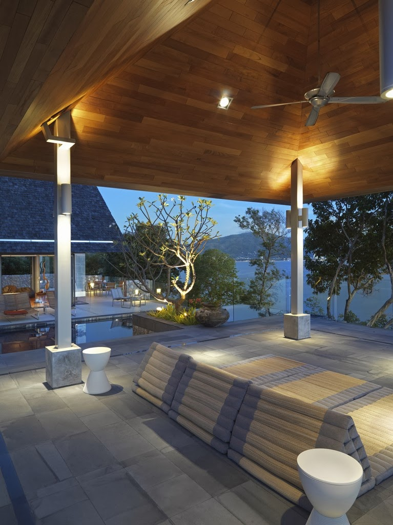 Covered terrace in Villa with contemporary Asian design