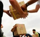 разгрузка гуманитарного груза