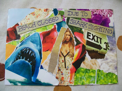 mail, mail art, art, envelope, penpals, snail mail, post, that's the way the cookie crumbles, magazine, cuttings, ripping, beach, shark, exit