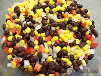Corn, black beans and onion southwest salad