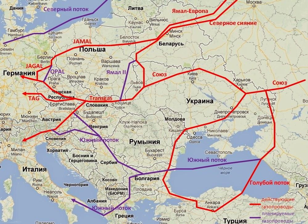 Газопроводы Россия - Европа
