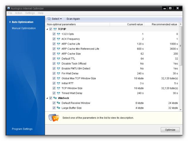 برنامج مجاني لتحسين وتسريع الانترنت بشكل تلقائي Auslogics Internet Optimizer 2.0.6