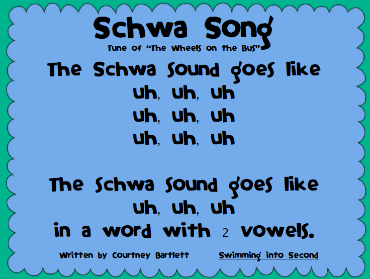 Swimming Into Second: Schwa Song and a Reminder