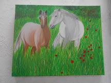 """Νότα Κυμοθόη """"Άλογα σε λιβάδι""""Ελαιογραφία σε μουσαμά"""