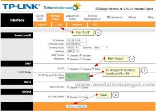 Cara Setting DHCP Relay WiFi / Wireless Modem Speedy ke MikroTik