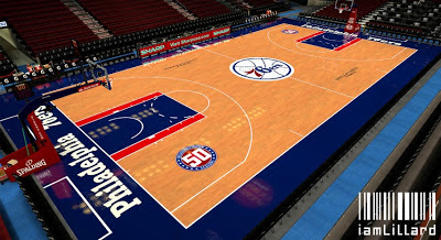 NBA 2K13 76ers Court w/ 50th Anniversary Logo Patch