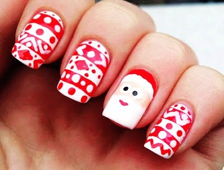 cute cartoon santa clause christmas nail art
