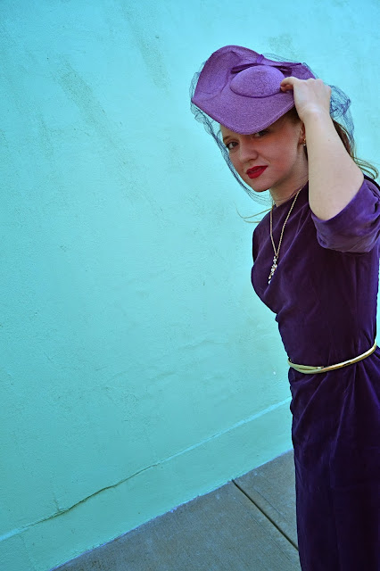 Flashback Summer: Lady in Purple - 1960s 1950s dress/ 1940s tilt hat/ vintage outfit