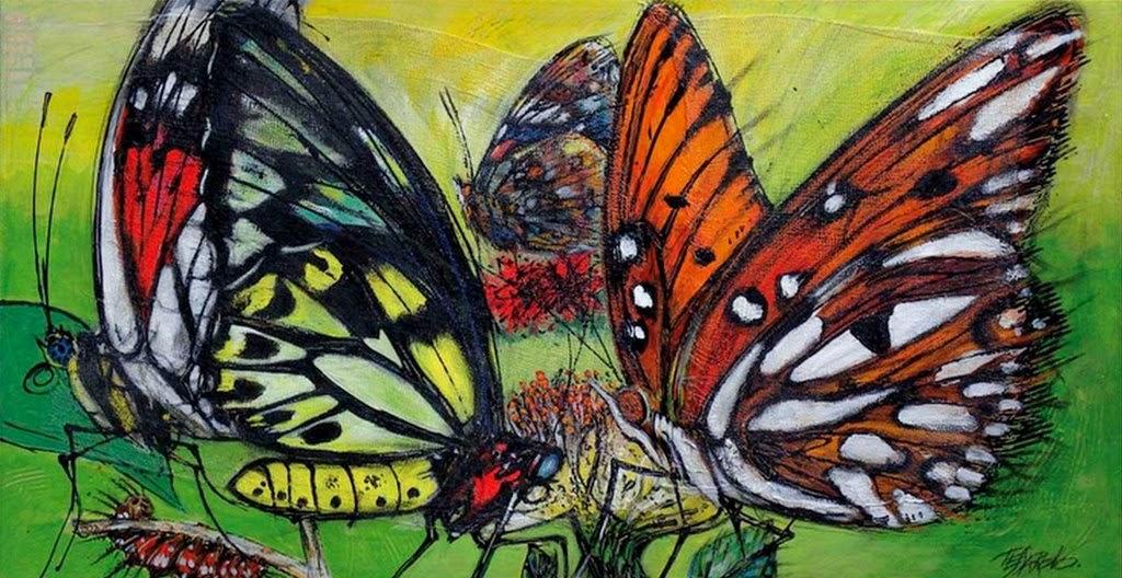 Pintura moderna y fotografía artística : cuadros de mariposas ...