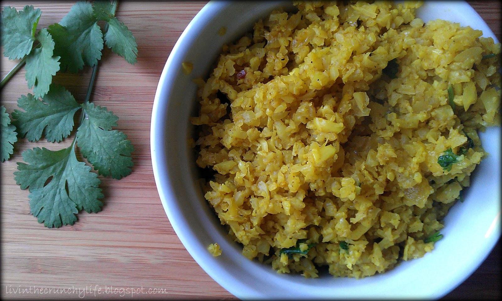 Indian Style Cauliflower Rice (gluten/grain free)