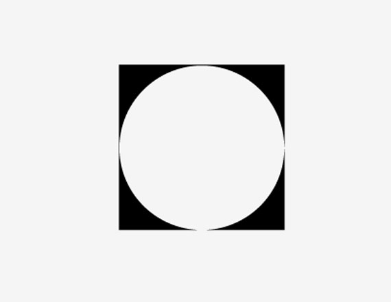 white circle in a black square