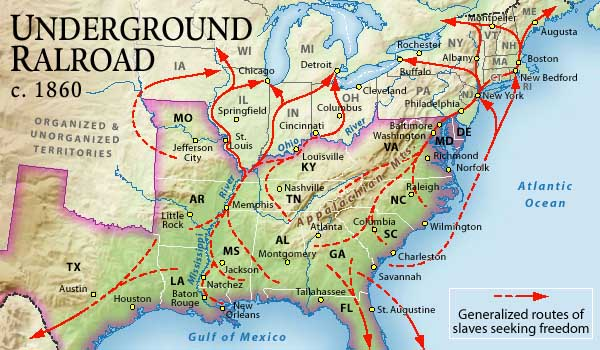 Underground Railroad Map