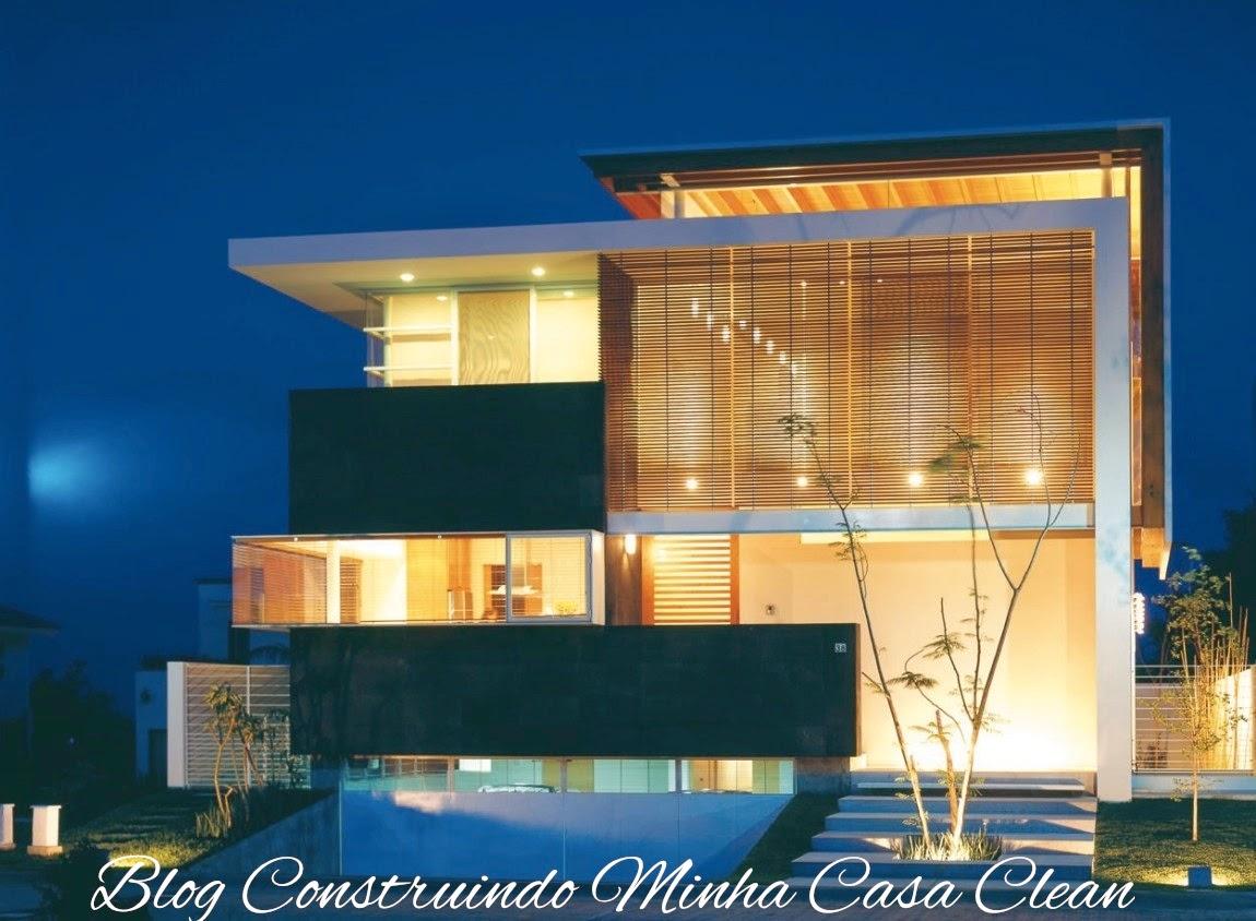Construindo minha casa clean fachadas de casas em terrenos em aclive e estreitos - Fachada de casa ...