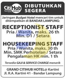 Lowongan Kerja HOTEL CitiHUB 2015 Terbaru Di Lampung, Lowongan Kerja SMA/ SMK HOTEL CitiHUB 2015 Terbaru, Lowongan Kerja D3 HOTEL CitiHUB 2015 Terbaru, Lowongan Kerja D1 HOTEL CitiHUB 2015 Terbaru, Lowongan Kerja S1/ Sarjana HOTEL CitiHUB 2015 Terbaru, Lowongan Kerja Administrasi HOTEL CitiHUB 2015 Terbaru, Lowongan Kerja Accounting HOTEL CitiHUB 2015 Terbaru, Lowongan Kerja Driver/ Sopir HOTEL CitiHUB 2015 Terbaru, Lowongan Kerja Satpam/ Scurity HOTEL CitiHUB 2015 Terbaru, Lowongan Kerja Staff HOTEL CitiHUB 2015 Terbaru, Lowongan Kerja CS/ Costumer Service di HOTEL CitiHUB 2015 Terbaru, Lowongan Kerja IT di HOTEL CitiHUB 2015 Terbaru, Karir Lampung di HOTEL CitiHUB 2015 Terbaru, Alamat Lengkap HOTEL CitiHUB 2015 Terbaru, Struktur Organisasi HOTEL CitiHUB 2015 Terbaru, Email HOTEL CitiHUB 2015, No Telepon HOTEL CitiHUB 2015 Website/ Situs Resmi HOTEL CitiHUB 2015 Terbaru, Gaji Standar UMR di HOTEL CitiHUB 2015 Terbaru, Daftar Cabang Perusahaan HOTEL CitiHUB 2015 Terbaru, Lowongan Kerja Penipuan HOTEL CitiHUB 2015 Terbaru, Lowongan Kerja HOTEL CitiHUB 2015 Terbaru di Bandar Lampung, Lowongan Kerja HOTEL CitiHUB 2015 Terbaru di Metro, Lowongan Kerja HOTEL CitiHUB 2015 Terbaru di Bandar Jaya, Lowongan Kerja HOTEL CitiHUB 2015 Terbaru di Liwa, Lowongan Kerja HOTEL CitiHUB 2015 Terbaru di Kalianda, Lowongan Kerja HOTEL CitiHUB 2015 Terbaru di Tulang Bawang, Lowongan Kerja HOTEL CitiHUB 2015 Terbaru di Pringsewu, Lowongan Kerja HOTEL CitiHUB 2015 Terbaru di Kota bumi, Lowongan Kerja HOTEL CitiHUB 2015 Terbaru di Krui, Lowongan Kerja HOTEL CitiHUB 2015 Terbaru di Natar, Lowongan Kerja HOTEL CitiHUB 2015 Terbaru di Blambangan Umpu, Lowongan Kerja HOTEL CitiHUB 2015 Terbaru di Panaragan Jaya, Lowongan Kerja HOTEL CitiHUB 2015 Terbaru di Sukadana, Lowongan Kerja HOTEL CitiHUB 2015 Terbaru di Gunung Sugih, Lowongan Kerja HOTEL CitiHUB 2015 Terbaru di Wiralaga Mulya, Lowongan Kerja HOTEL CitiHUB 2015 Terbaru di Gedong Tataan, Lowongan Kerja HOTEL CitiHUB 2015 Terbaru di Surabay