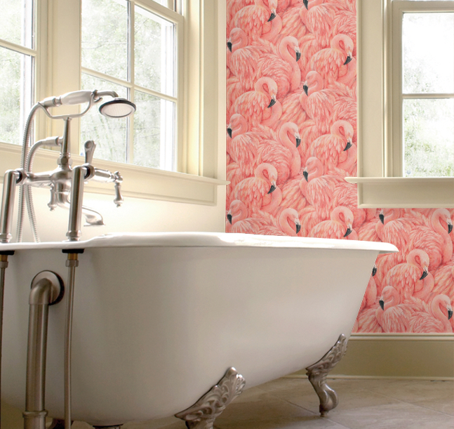 Flamingos in the bathroom emily may for Bathrooms direct