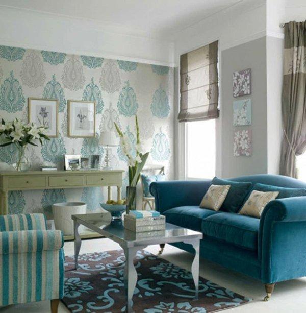 Salas color turquesa y gris  Ideas de salas con estilo