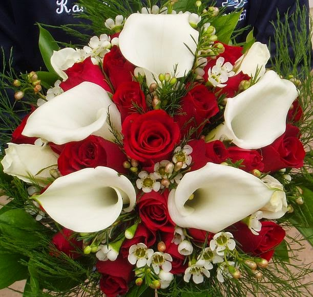 Red Roses Calla Lilies Wedding Bouquet