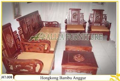 Kursi Tamu & Meja Set Ukiran Kayu Jati Hongkong Bambu Anggur