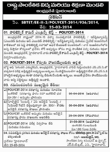 POLYCET 2014 Notification